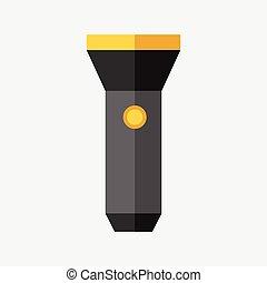Flashlight isolated, flat style