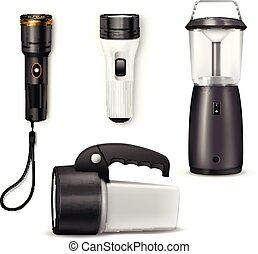flashlight, realistisch, set, gekleurde, pictogram