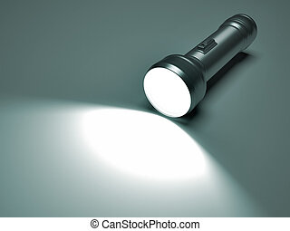 3d render illustration of a flashlight lighting the floor