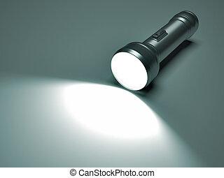 Flashlight spot - 3d render illustration of a flashlight...