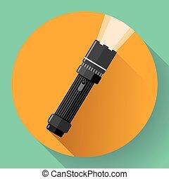 Flashlight Vector icon. Flat design style