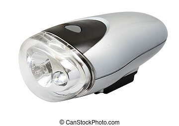 flashlight, voor, fiets, vrijstaand, op wit, achtergrond
