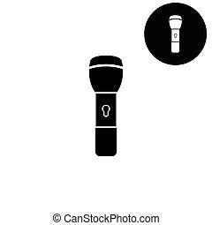 flashlight  - white vector icon