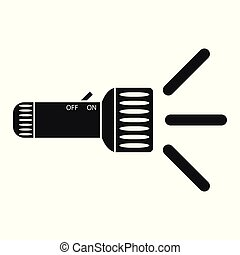 Flashlight with flash, rays of light. vector icon. The element is isolated on a light background.