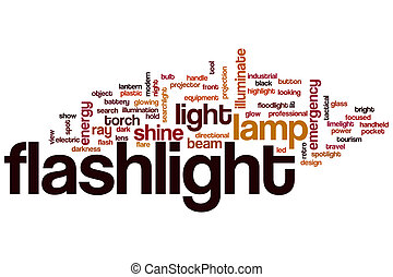 Flashlight word cloud concept with lamp shine related tags