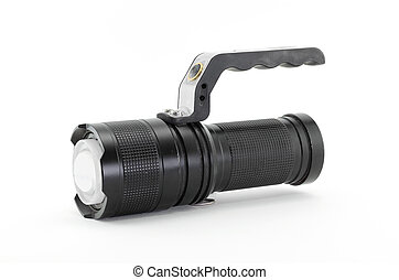 Flashlight,Black torch isolated on a white background