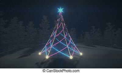 Flashlights on the Christmas tree - Realistic three...