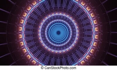 Purple Rotation of Circular Art Passage 4k uhd 3d rendering vj loop