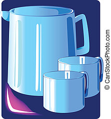 Flask and two cup - Illustration of a blue flask and two cup...
