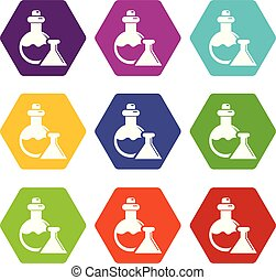 Flask icons set 9 vector - Flask icons 9 set coloful...