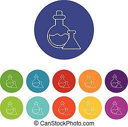 Flask icons set vector color - Flask icons color set vector...