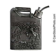 Flask in the shape of the canister with a bas-relief