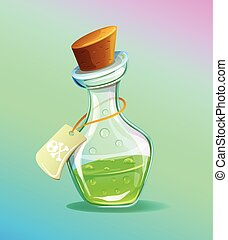 Flask of green poison icon. Vector flat cartoon illustration