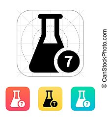 Flask with number icon. Vector illustration. - Flask with...