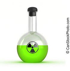 Flask with radioactive liquid