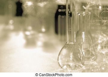 Flask with test tubes and research background to be used design or decoration on the topic of science or use it for other your content.