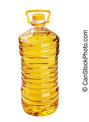 flaska, av, solros olja