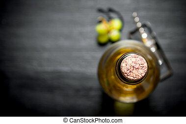 flaska, av, vit, vin.