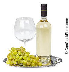 flaska, av, vit vin, glas, och, druvor, på, metallmagasin