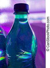 flaska, fyllda, av, vatten