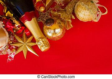 flaska, jul, champagne, utsmyckningar