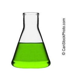 flaska, kémiai, zöld, folyékony, laboratórium