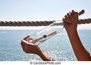 flaska, med, a, meddelande, in, den, räcker