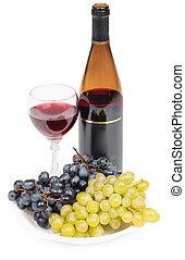 flaska vin, glas, och, druvor, -, stilleben