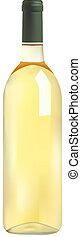 flaska, vin, vit