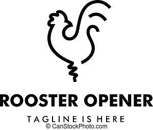 flaske, hanen, øl, vektor, oplukker, skabelon, logo, kylling