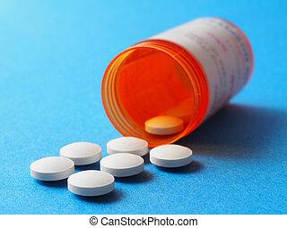 flaske, hos, pillerne