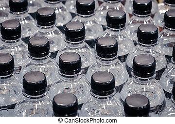 flasker, mange, -, plastik, vand, retail
