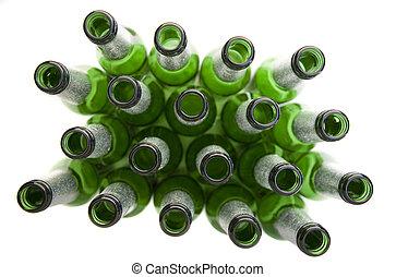 flaskor, alkoholist, -, öl, tom, drycken