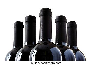 flaskor, av, fin, italiensk, röd vin