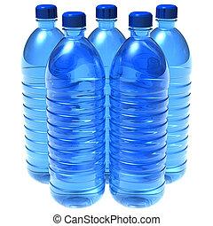 flaskor, av, vatten