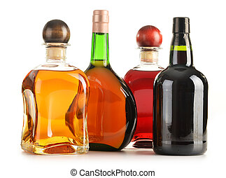 flaskor, blandad, alkoholist, isolerat, produkter, vit, ...