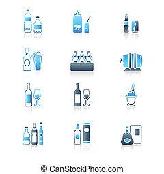 flaskor, ikonen, serie, dricka, flotta,  