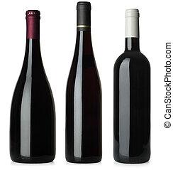 flaskor, nej, etiketter, tom, röd vin