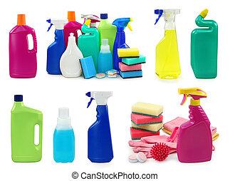 flaskor, plastisk, färgad