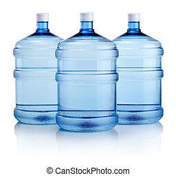 flaskor, stor, tre, isolerat, vatten, bakgrund, vit