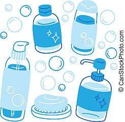 flaskor, tvål