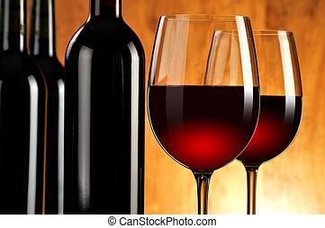 flaskor, wineglasses, två, komposition, röd vin