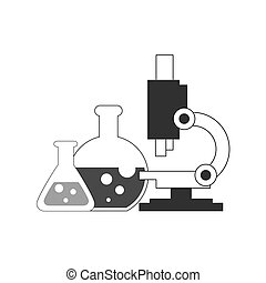Flasks and microscope icon. Research lab concept. Symbol in trendy flat style isolated on white background.