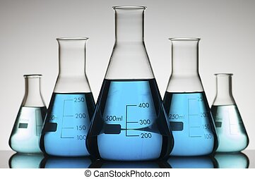 five conical glasses laboratory on a white background