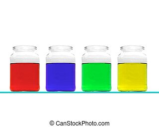 Flasks - Science flasks isolated against a white background