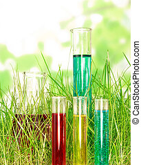Flasks with colored chemistry liquid