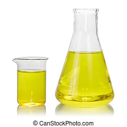 Flasks with yellow liquid