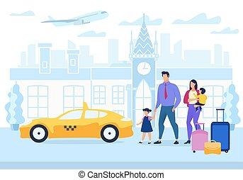 flat., 家族, ポスター, 旅行, 広告, 漫画