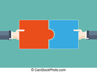 Flat 2 Hands 2 Puzzles - Flat design with human hands and...