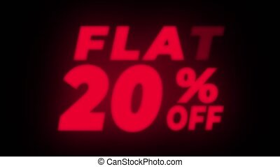 Flat 20% Percent Off Text Flickering Display Promotional...